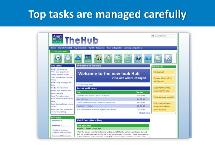 Top tasks are managed carefully
