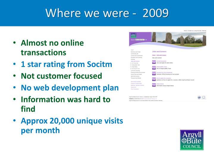 Where we were -  2009