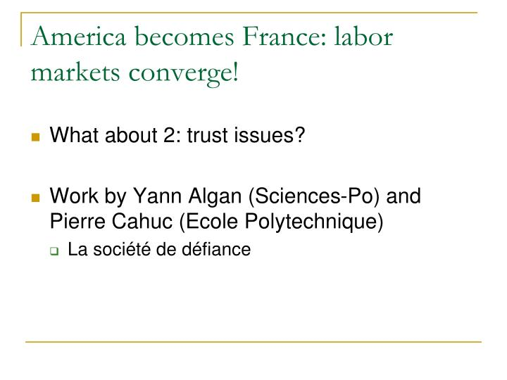 America becomes France: labor markets converge!
