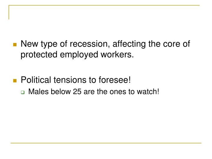New type of recession, affecting the core of protected employed workers.