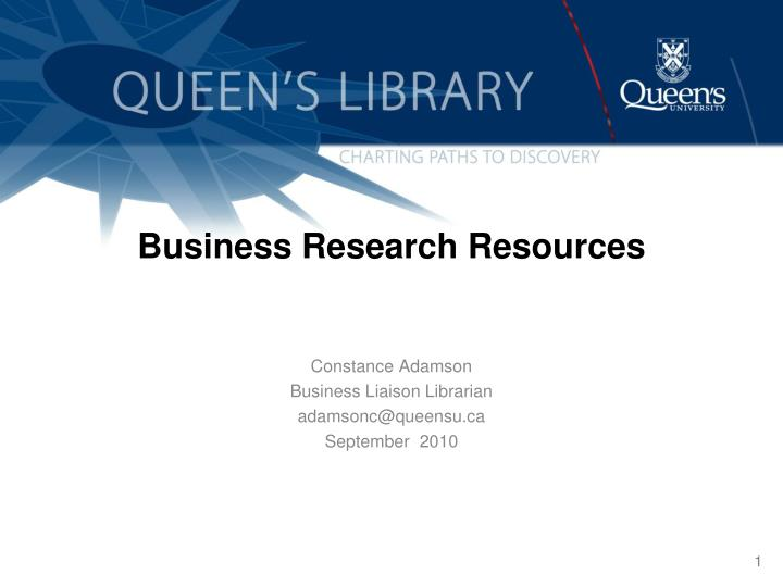 Business Research Resources