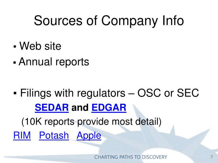 Sources of company info