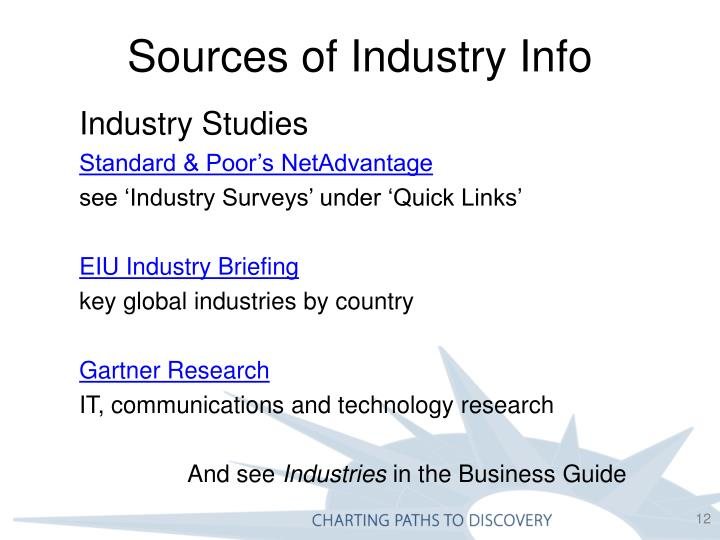 Sources of Industry Info