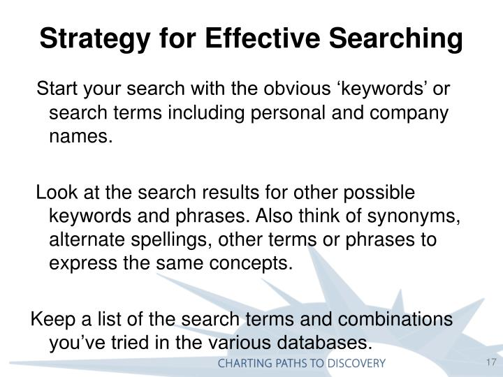 Strategy for Effective Searching