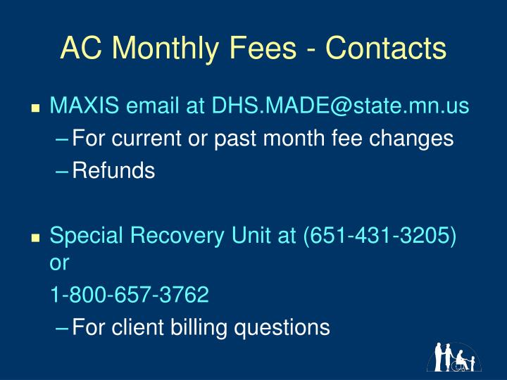 AC Monthly Fees - Contacts