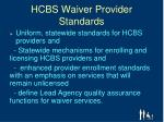 hcbs waiver provider standards