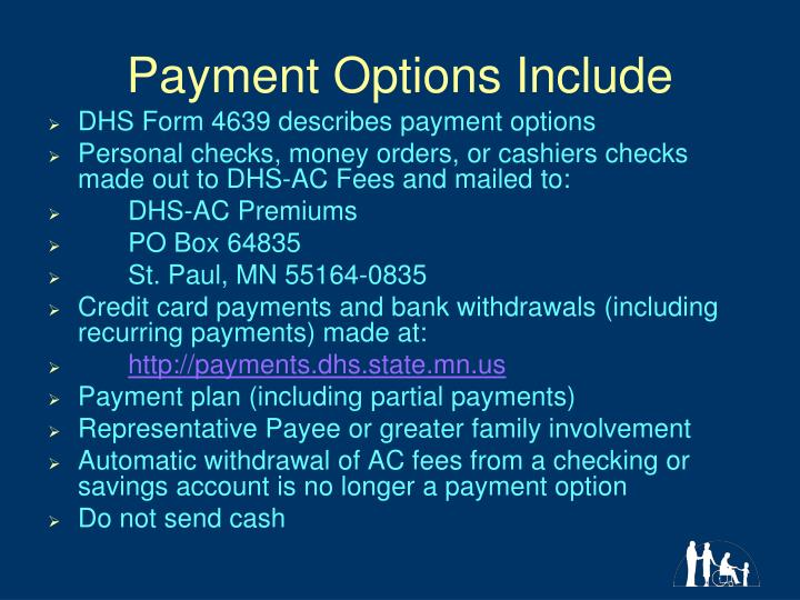 Payment Options Include