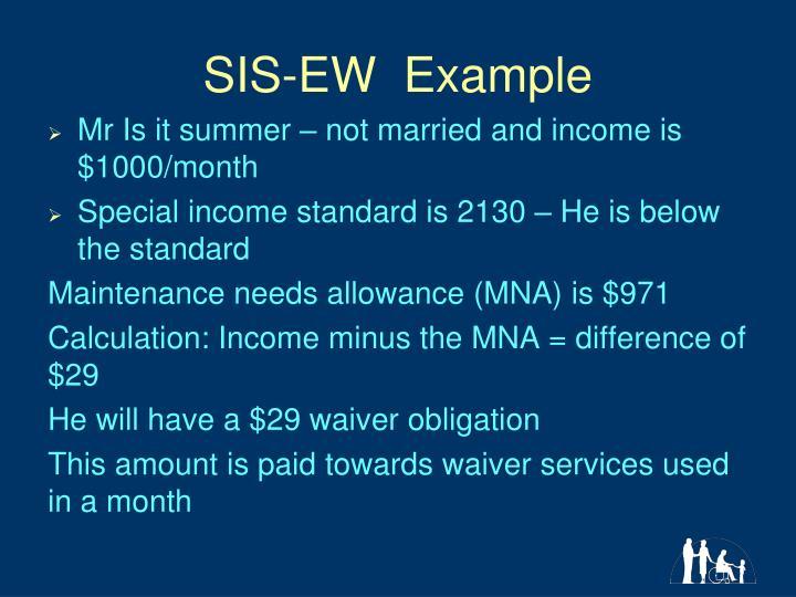 SIS-EW  Example