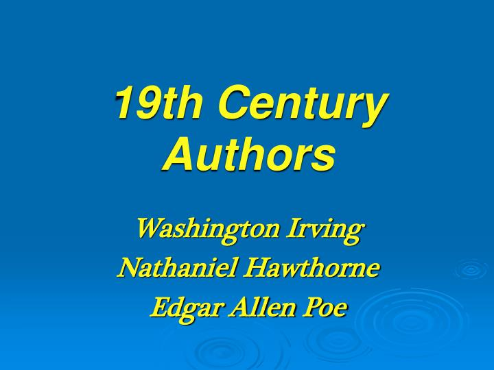 19th century authors