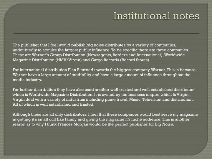 Institutional notes