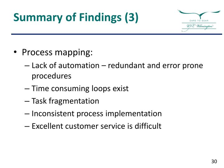 Summary of Findings (3)