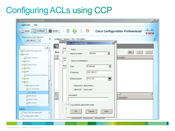 Configuring ACLs using