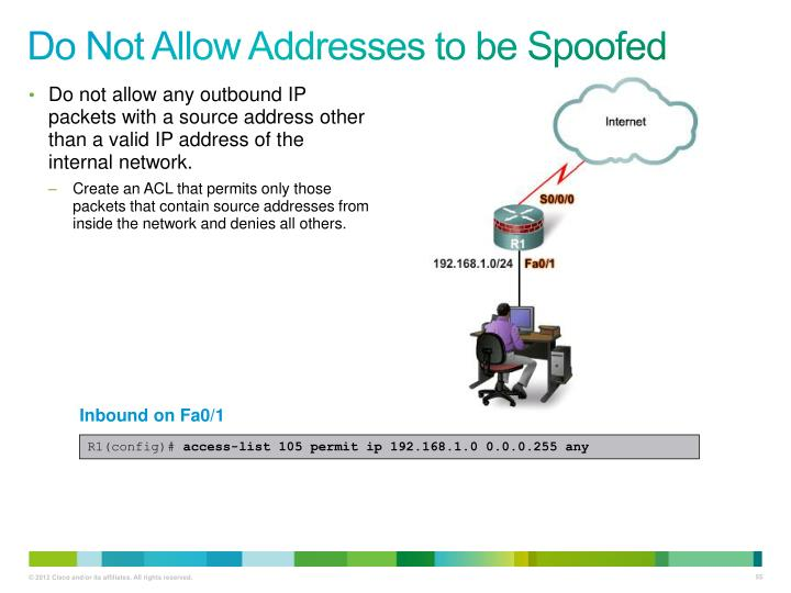Do Not Allow Addresses to be Spoofed
