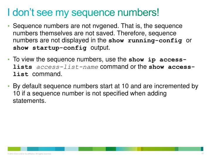 I don't see my sequence numbers!