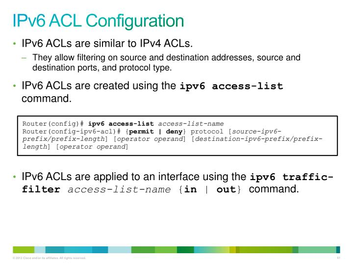 IPv6 ACL Configuration