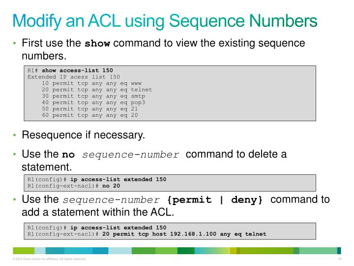 Modify an ACL using Sequence Numbers