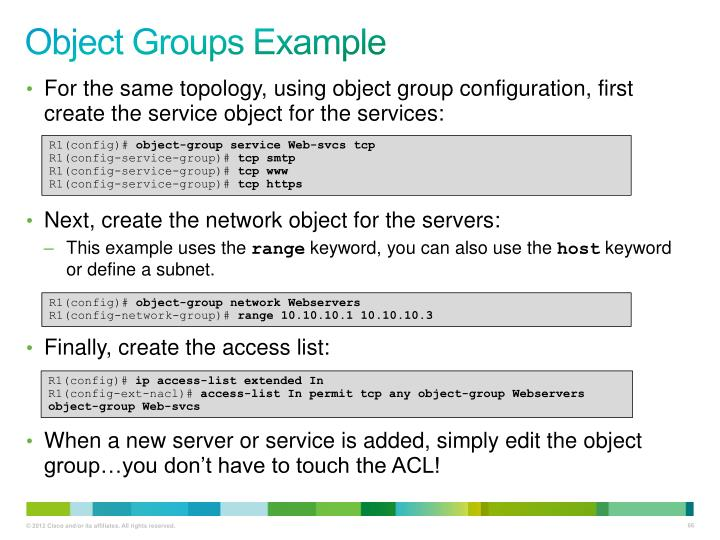 Object Groups Example