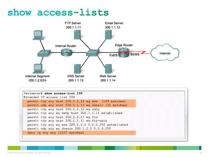 show access-lists