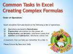 common tasks in excel creating complex formulas