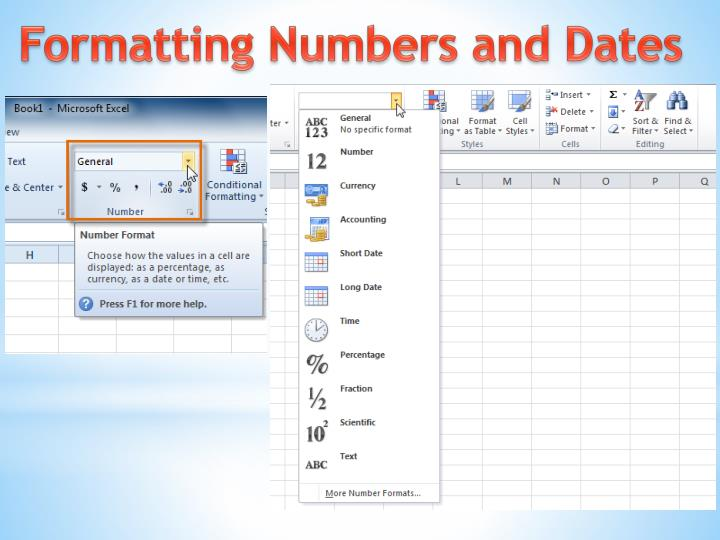 Formatting Numbers and Dates
