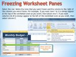 freezing worksheet panes
