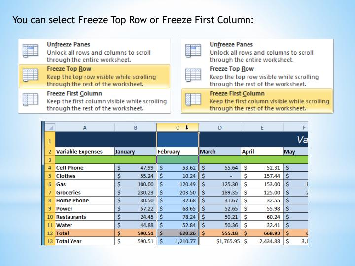 You can select Freeze Top Row or Freeze First Column: