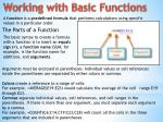working with basic functions