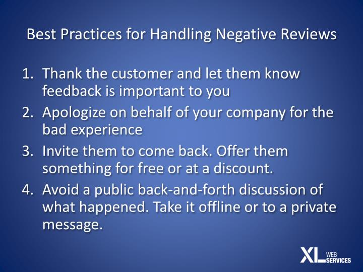 Best Practices for Handling Negative Reviews