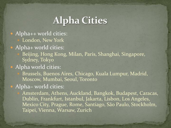 Alpha Cities