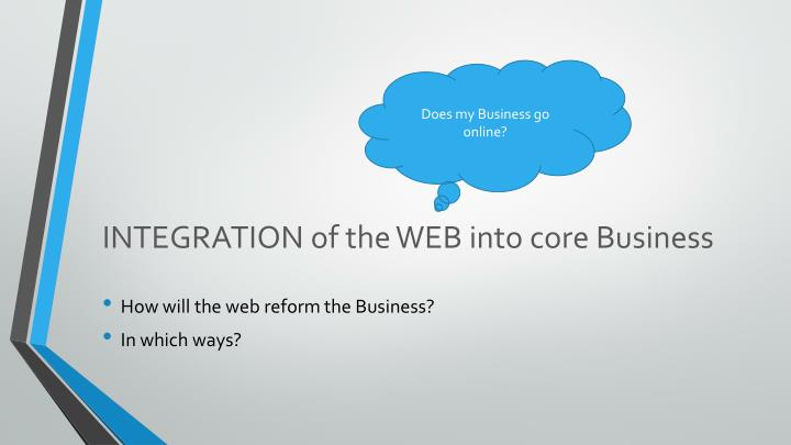 INTEGRATION of the WEB into core Business
