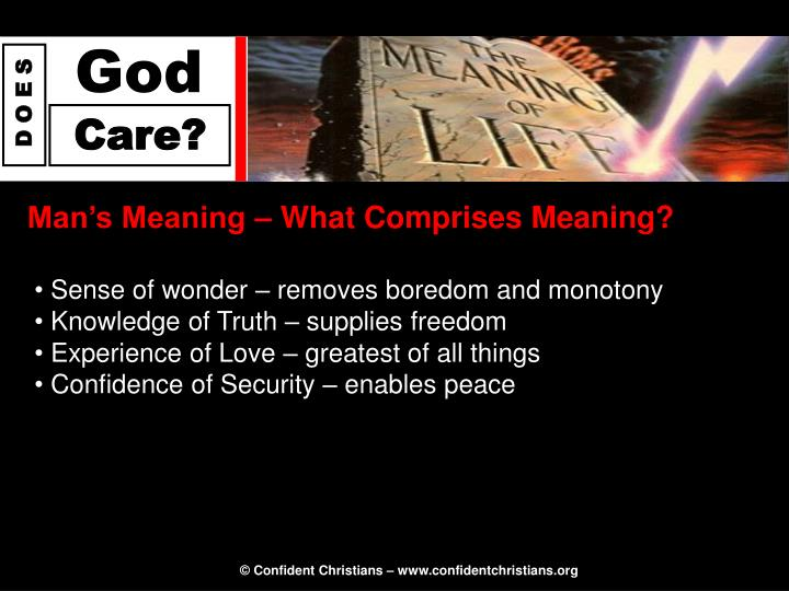 Man's Meaning – What Comprises Meaning?