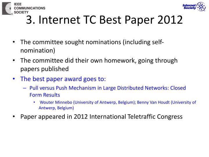 3. Internet TC Best Paper 2012