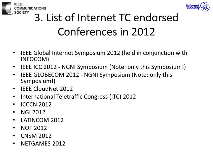 3. List of Internet TC endorsed Conferences in 2012
