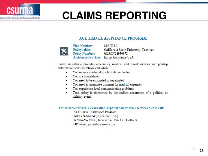 CLAIMS REPORTING