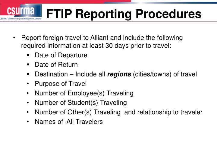 FTIP Reporting Procedures