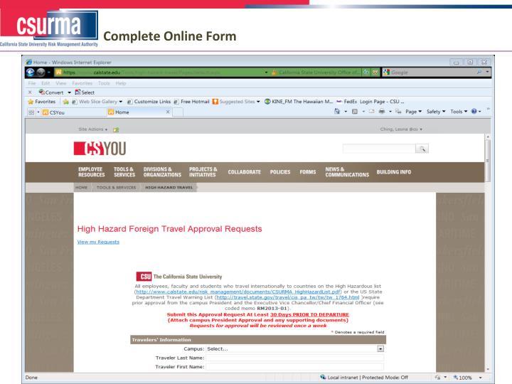 Complete Online Form