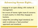 advancing human rights