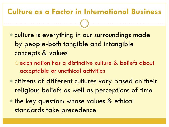 Culture as a Factor in International Business