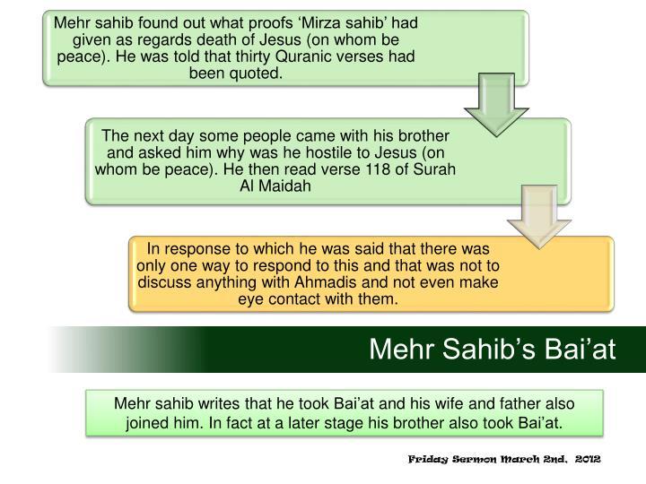 Mehr Sahib's Bai'at