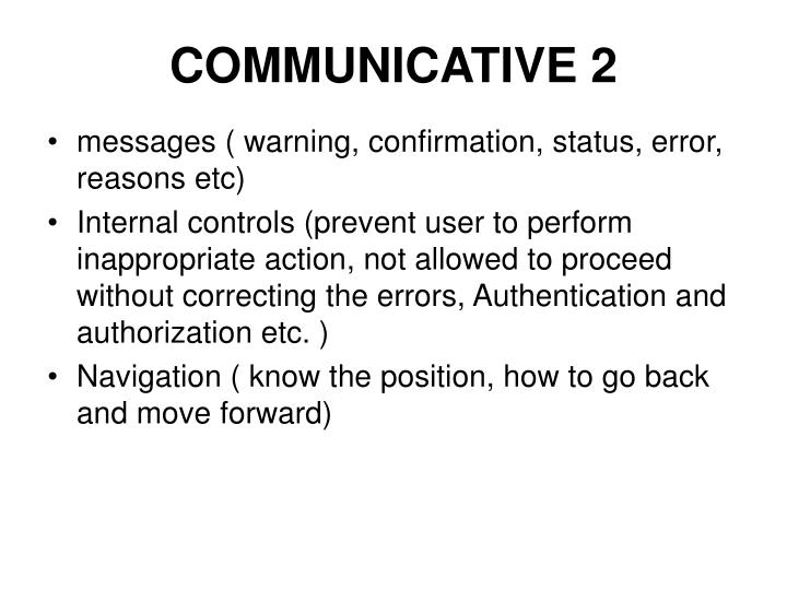 COMMUNICATIVE 2