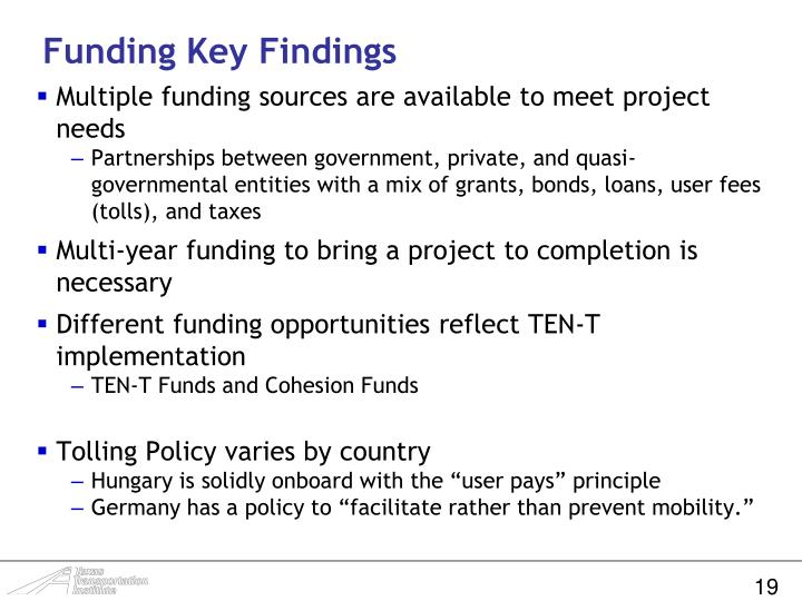 Funding Key Findings