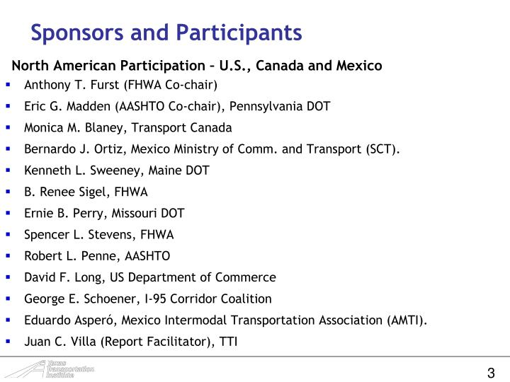 Sponsors and Participants