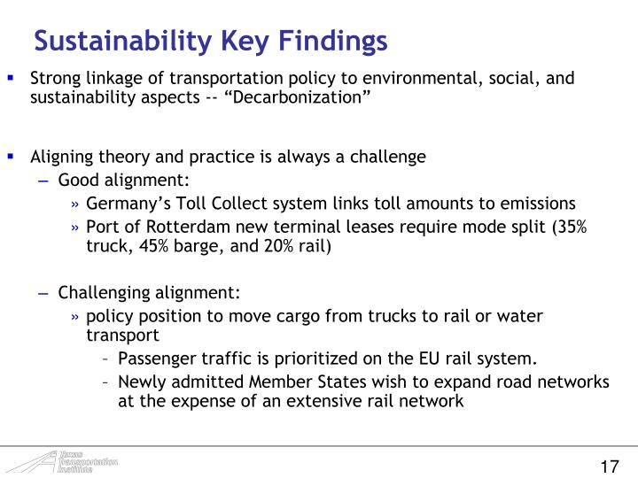 Sustainability Key Findings