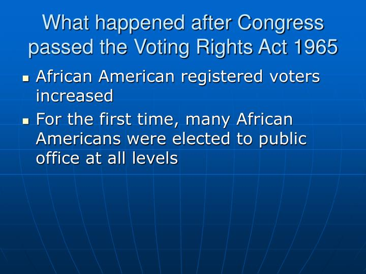 What happened after Congress passed the Voting Rights Act 1965