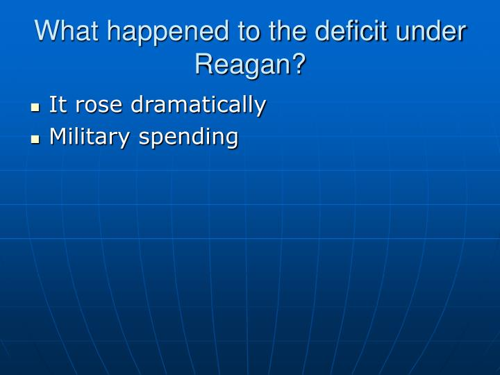 What happened to the deficit under Reagan?
