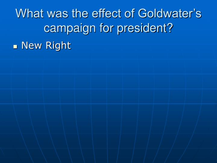 What was the effect of Goldwater's campaign for president?