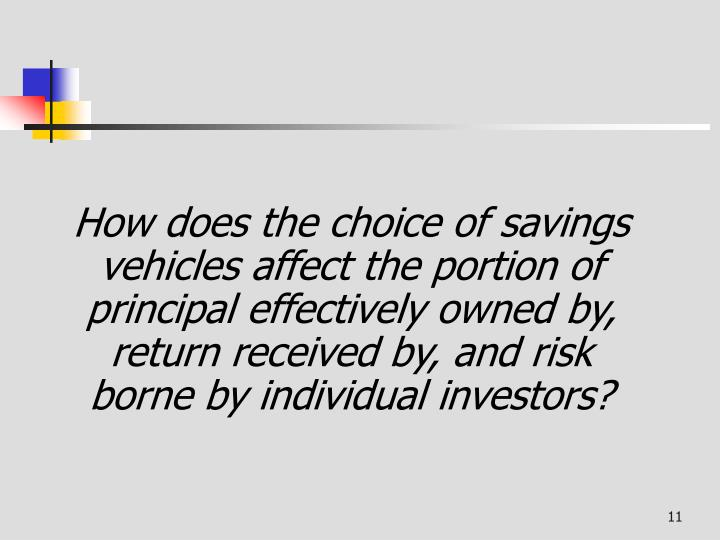 How does the choice of savings vehicles affect the portion of principal effectively owned by, return received by, and risk borne by individual investors?