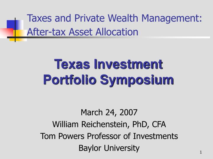 taxes and private wealth management after tax asset allocation