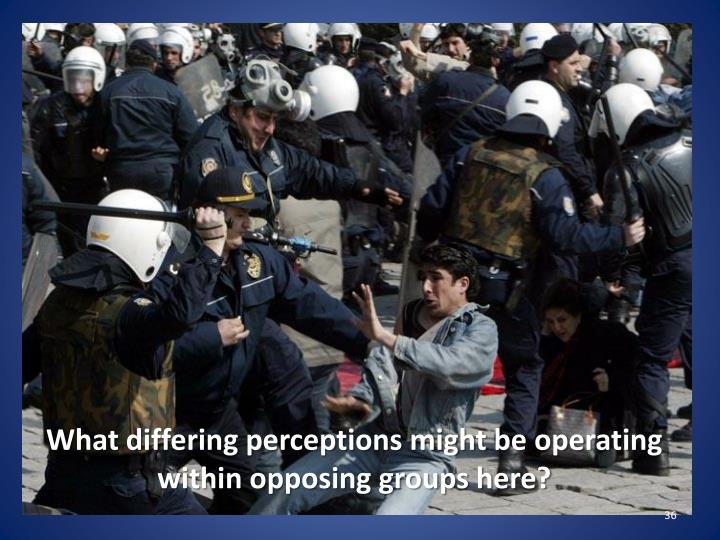 What differing perceptions might be operating within opposing groups here?