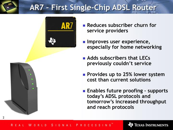 Ar7 first single chip adsl router